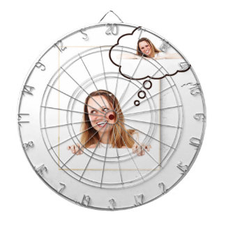 Blonde Woman Thinking on White Board Dartboard