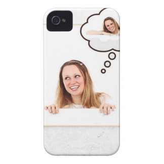 Blonde Woman Thinking on White Board iPhone 4 Case-Mate Case