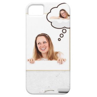 Blonde Woman Thinking on White Board iPhone 5 Covers