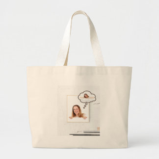 Blonde Woman Thinking on White Board Large Tote Bag