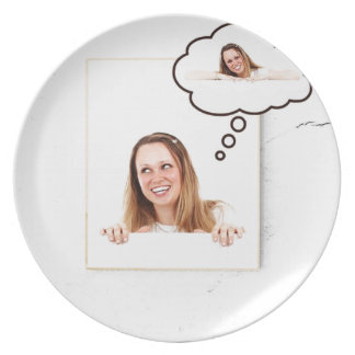 Blonde Woman Thinking on White Board Plate