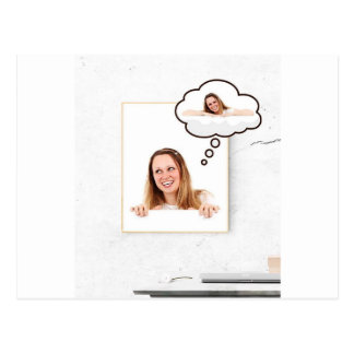 Blonde Woman Thinking on White Board Postcard