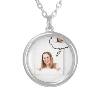 Blonde Woman Thinking on White Board Silver Plated Necklace