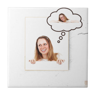 Blonde Woman Thinking on White Board Small Square Tile