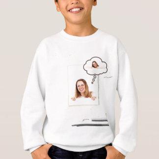 Blonde Woman Thinking on White Board Sweatshirt