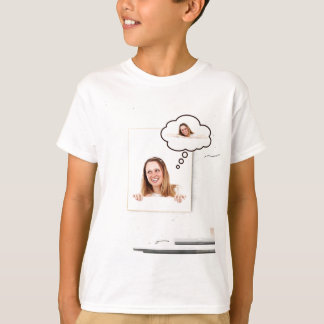 Blonde Woman Thinking on White Board T-Shirt