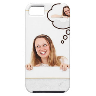 Blonde Woman Thinking on White Board Tough iPhone 5 Case