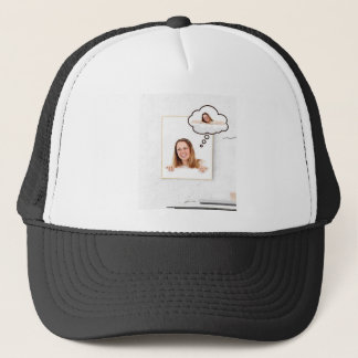 Blonde Woman Thinking on White Board Trucker Hat
