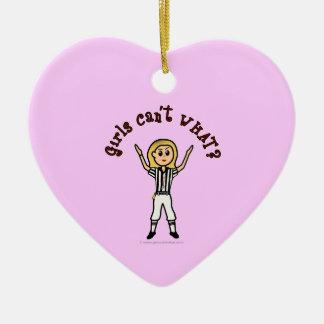 Blonde Womens Football Referee Ceramic Heart Decoration