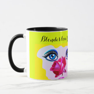 blondes love roses mug