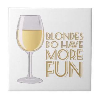 Blondes More Fun Small Square Tile