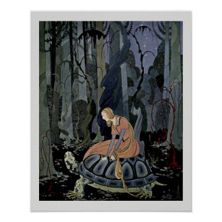 Blondine and the Tortoise  Fairytale Illustration Poster