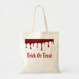 Blood Dripping Halloween Trick Or Treat Budget Tote Bag