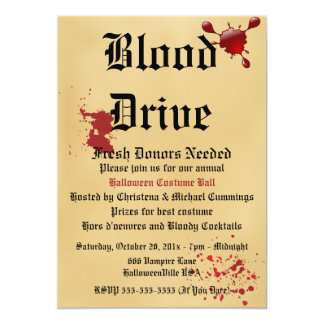 Blood Drive Vampire Halloween Party Invitation