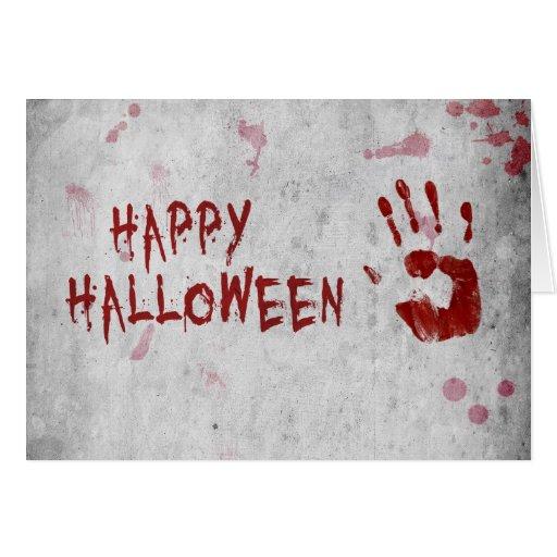 Blood Handprint Halloween - Greeting Card