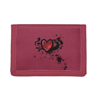 blood heart trifold wallets