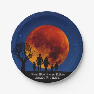 Blood Moon Lunar Eclipse 2018 Paper Plate