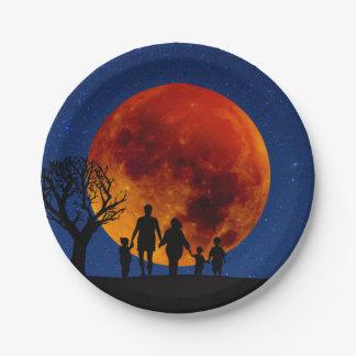 Blood Moon Lunar Eclipse Paper Plate