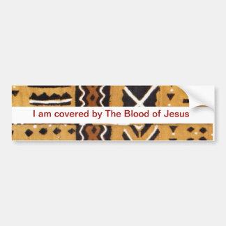 Blood of Jesus Mud cloth bumper sticker