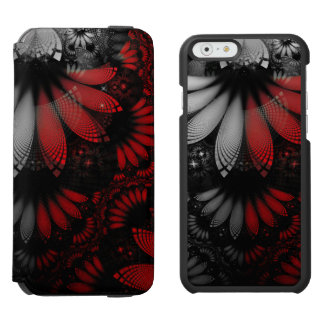 Blood Red & Black Fractal Feathers of the Vampire Incipio Watson™ iPhone 6 Wallet Case