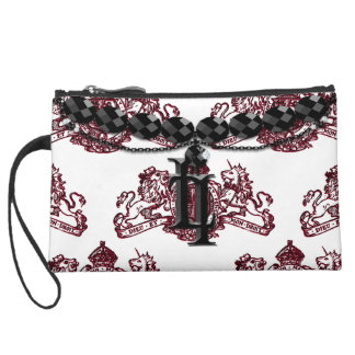 Blood Red Dieu et Mon Droit British Coat of Arms Wristlet Purses