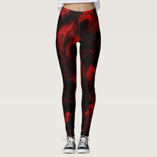 Blood Red Dragon Scales On Black Leggings