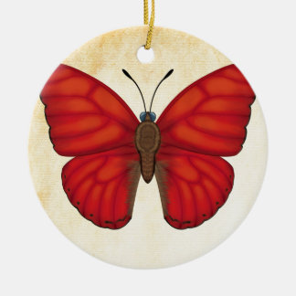 Blood Red Glider Butterfly Ceramic Ornament
