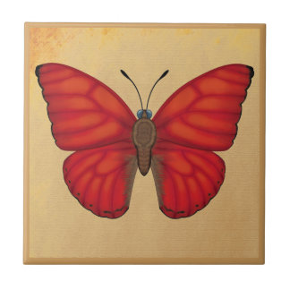 Blood Red Glider Butterfly Ceramic Tile