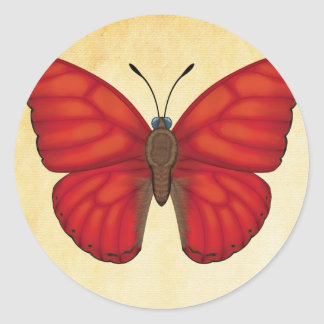 Blood Red Glider Butterfly Classic Round Sticker