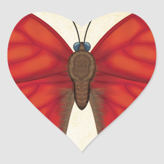 Blood Red Glider Butterfly Heart Sticker