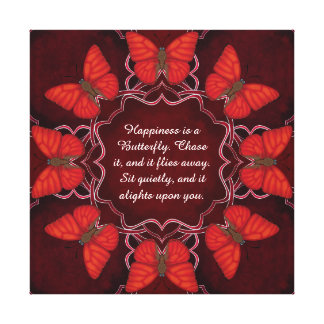 Blood Red Glider Butterfly Mandala Canvas Print
