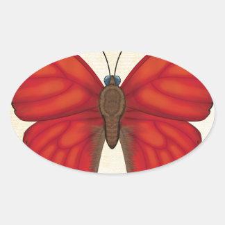 Blood Red Glider Butterfly Oval Sticker