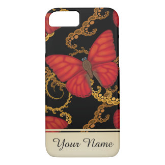 Blood Red Glider Butterfly Personalized iPhone 7 Case
