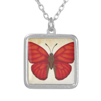 Blood Red Glider Butterfly Silver Plated Necklace