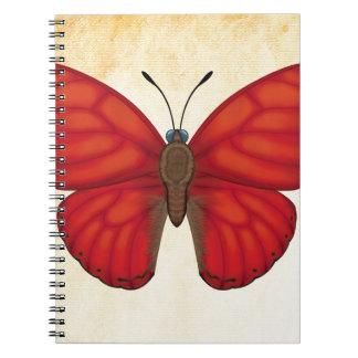Blood Red Glider Butterfly Spiral Notebook