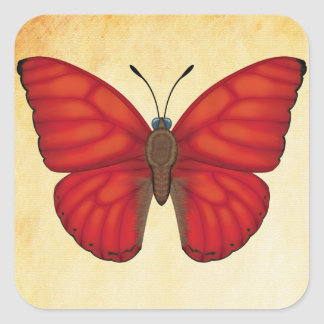 Blood Red Glider Butterfly Square Sticker