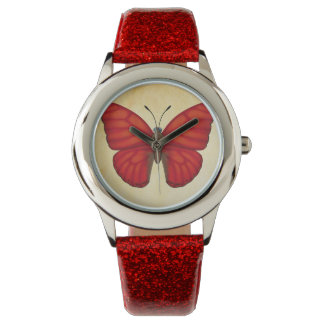 Blood Red Glider Butterfly Wrist Watch