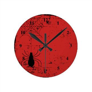 Blood Red Halloween Spider Spider Web Distressed Round Clock