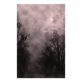 Blood Red Haunted Sky with Ravens Personalized Stationery