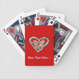 Blood Red Love Heart with Triple Heart Bicycle Playing Cards