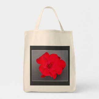 BLOOD RED ROSE Organic Grocery Tote Tote Bag