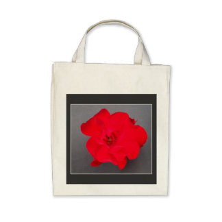 BLOOD RED ROSE Organic Grocery Tote Tote Bag