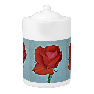 Blood Red Rose Tea Pot