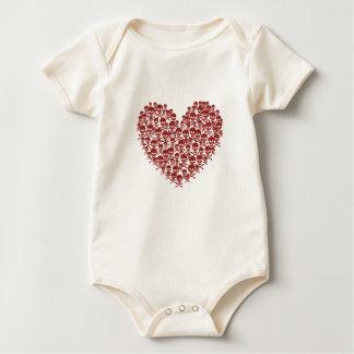 Blood Red Skull Heart Baby Bodysuit