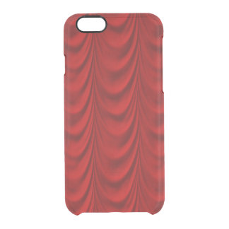 Blood Red Velvet and Black Lace Plush Fabric Clear iPhone 6/6S Case