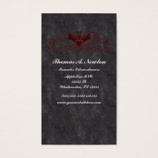 Blood Rusted Vampire Bat Goth Business Card