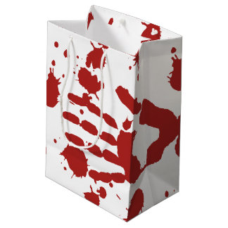 Blood Soaked Hand Print Halloween Trick Or Treat Medium Gift Bag