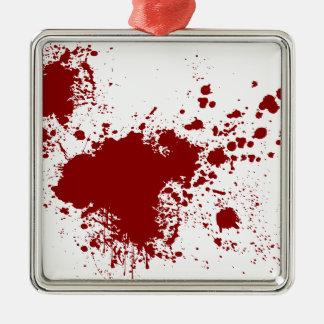 Blood Splash Silver-Colored Square Decoration