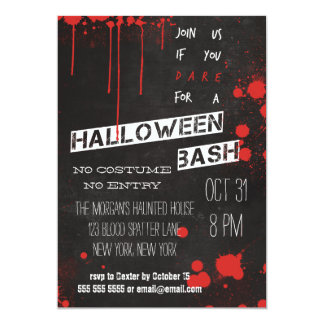 Blood Splatter Chalkboard Cool Halloween Card