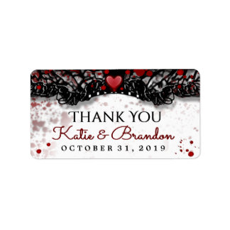 Blood Splatter Halloween Wedding Thank You Labels